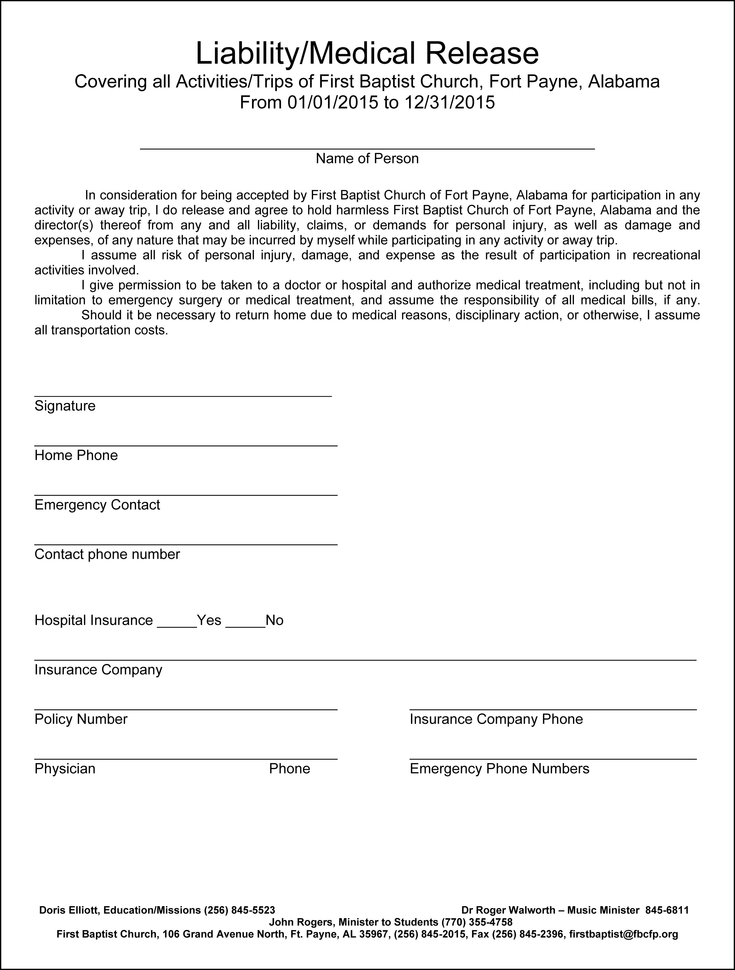2015 Adult Church Liability Form for Adults First Baptist Church